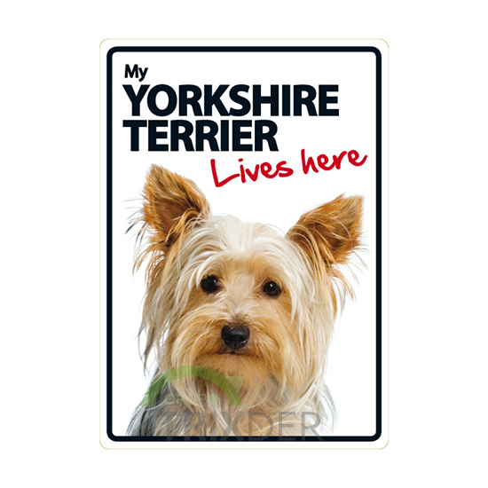 Señal A5 'Yorkshire Terrier-Lives Here', 14.8x21cm