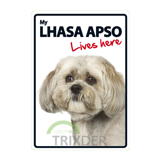 Señal A5 'Lhasa Apso - Lives Here', 14.8 x 21 cm