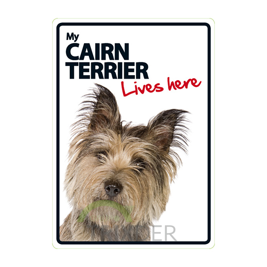 Señal A5 'Cairn Terrier - Lives Here', 14.8x21cm